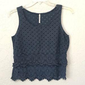 Willow & Clay Crochet Lace Semi Sheer Tank Top